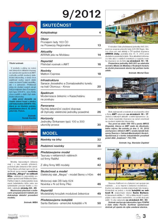 Železniční magazín 9/2012 obsah