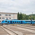 """Prezentovaná jednotka """"Regio Panter"""" ve složení 651.005+650.005 vyčkává odjezdu s cestujícími směr Brno hlavní nádraží"""