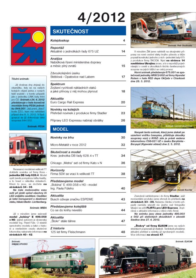 Zeleznicní magazín 4/2012 obsah