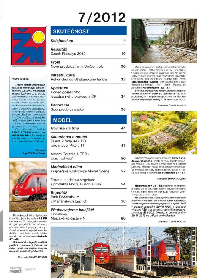 Zeleznicni magazin 07/2012 obsah